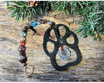 Pet Memorial Ornament, Pet Loss Gift, Pet Sympathy Gift, Dog Remembrance Gift, Dog Memorial, Cat Memorial, Custom Black Paw Print Ornament