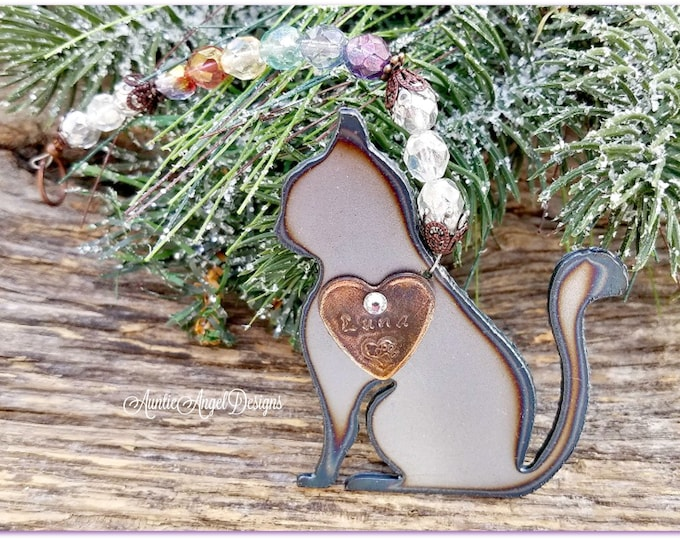 Featured listing image: Cat Ornament, Cat Memorial Gift, Kitty Sympathy Gift, Cat Remembrance Gift, Rainbow Bridge Cat Sympathy Gift, Loss of Cat, Death of Cat
