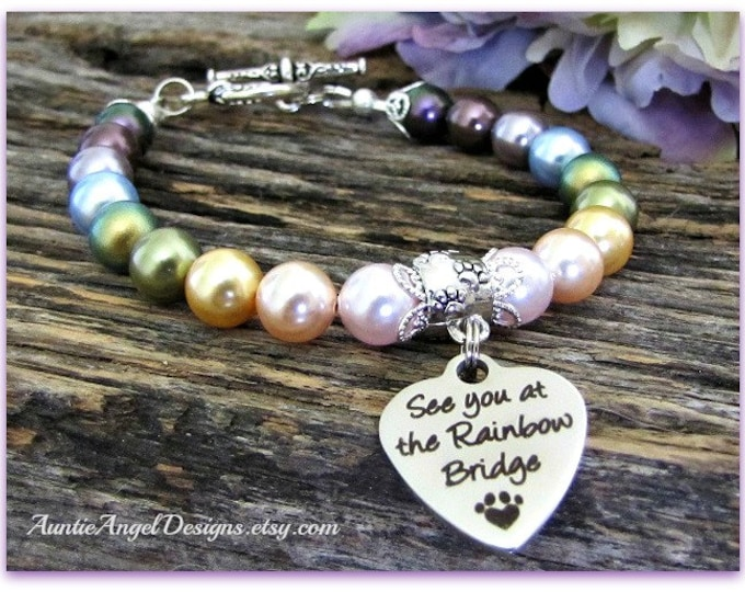 Featured listing image: Rainbow Bridge Gift, Rainbow Bridge, Pet Memorial Gift, Pet Sympathy, Dog Sympathy, Rainbow Bridge Poem Pet Memorial, Death of Pet Jewelry