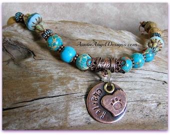 Paw Prints in the Sand, Personalized Paw Print Bracelet, Engraved Dog Sympathy Bracelet, Customized Paw Print Jewelry, Paw Print Jewelry