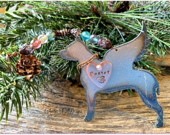 Pit bull sympathy, pittie dog at Rainbow Bridge, pittie angel ornament, angel pit bull memorial, death of pit bull, pit bull loss dad gift