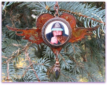 Angel Wings Sympathy Photo Ornament, Rustic Fisherman Gift, Gift for Daughter, Grandfather Memorials, Sympathy Photo Gift, Photo Memories