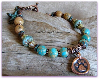 Paw prints in the sand pet lover bracelet, dog beach jewelry, surf dog jewelry, copper paw print dog bracelet, paw print jewelry, rescue pet
