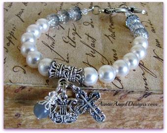 Pearly Gates of Heaven bracelet, Christian devotional jewelry, crucifix bracelets, angel cross bracelet, faith jewelry, scripture jewelry