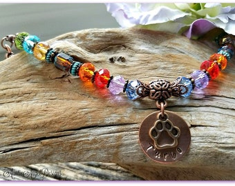 Rainbow Bridge, Pet Memorial Jewelry, Pet Sympathy Gift, Rainbow Bridge Bracelet, Pet Loss Jewelry, Death of Pet Gift, Stamped Pet Sympathy