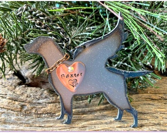 Gun dog memorial, loss of hunting dog, bird dog sympathy, labrador retriever angel, custom pointer gun dog ornament, English pointer angel
