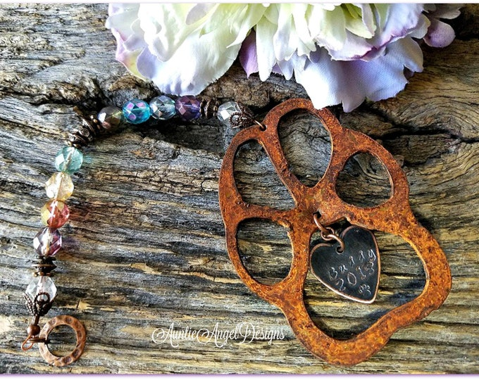 Featured listing image: Rainbow Bridge paw ornament, personalized pet sympathy gift, customized pet memorial gift, veterinarian pet sympathy gift for client