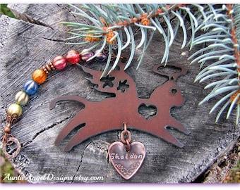 Rainbow Bridge Angel Kitty Ornament, Cat Memorial Ornament, Kitty Sympathy Gift, Rainbow Kitty Custom Ornament, Loss of Cat, Death of Kitty