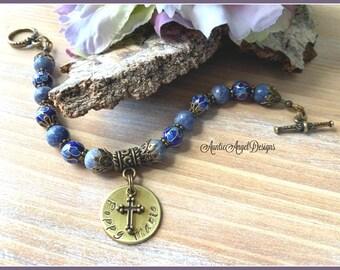 Personalized religious bracelet, Christian jewelry for women, Christian sympathy bracelet, custom name bracelet, encouragement gift