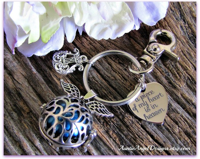 Featured listing image: Angel Chime Ball Keychain, Guardian Angel Keychain, Heaven's Angel Gift, Angel Sympathy, Mexican Bola, Angel Chime Ball, Harmony Ball
