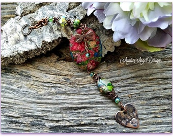 Pet Memorial Ornament, Custom Rainbow Bridge Car Accessory, Stamped Pet Lover Ornament, Handstamped Pet Rearview Mirror Gift, Pet Loss Gift