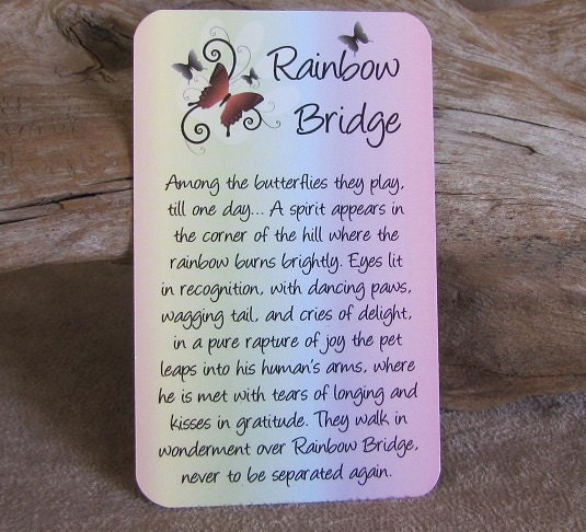 Rainbow Bridge Gift Rainbow Bridge Pet Memorial Gift Pet Sympathy