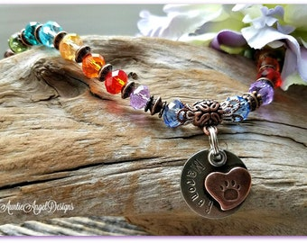 Personalized Rainbow Bridge Bracelet, Custom Pet Loss Bracelet, Handstamped Paw Print Bracelet, Rainbow Bridge Poem, Pet Sympathy Gift Idea