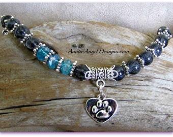 Paw print pet lover bracelet, pet remembrance jewelry, pet sympathy bracelet, pet memorial comfort gift, paw print jewelry, dog paw gift