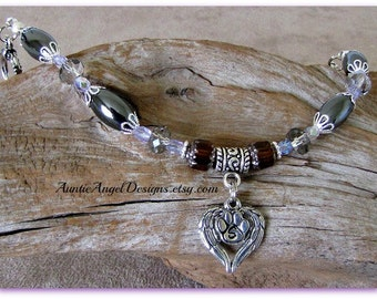 Canine Angel Pet Memorial Bracelet; Angel Pet Sympathy Jewelry; Tribute to Angel Pets; Dog Angel Jewelry; Initial Pet Sympathy Jewelry