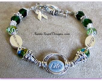 Mito awareness Jewelry, Mito disease awareness bracelet, mitochondrial disease jewelry, green ribbon awareness jewelry, green ribbon illness