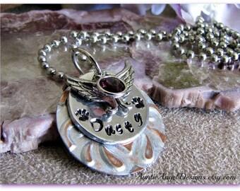 Customized Pet Memorial Jewelry, Custom Pet Loss Jewelry, Stamped Pet Birthstone Jewelry, Customized Angel Pet Gift, Stamped Pet Lover Gift
