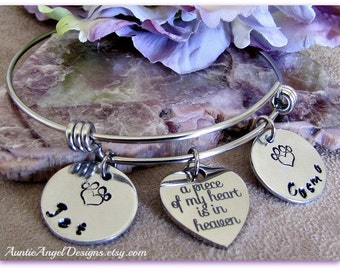 Personalized Pet Sympathy Jewelry, Custom Wire Bangle, Pet Lover Bracelet, Heart Paw Print Stamped Bracelet, Dog Mom Jewelry,  Cat Mom Gift