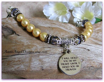 I Will Hold You in My Heart; Bereavement Jewelry; Christian Sympathy Jewelry; Religious Memorials; Pearl Sympathy Bracelet; Heaven Sympathy