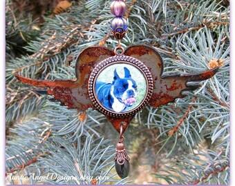 Rainbow Bridge Pet Photo Ornament, Angel Pet Rusted Ornament, Custom Pet Sympathy Gift, Personalized Pet Photo Ornament, Dog Photo Ornament