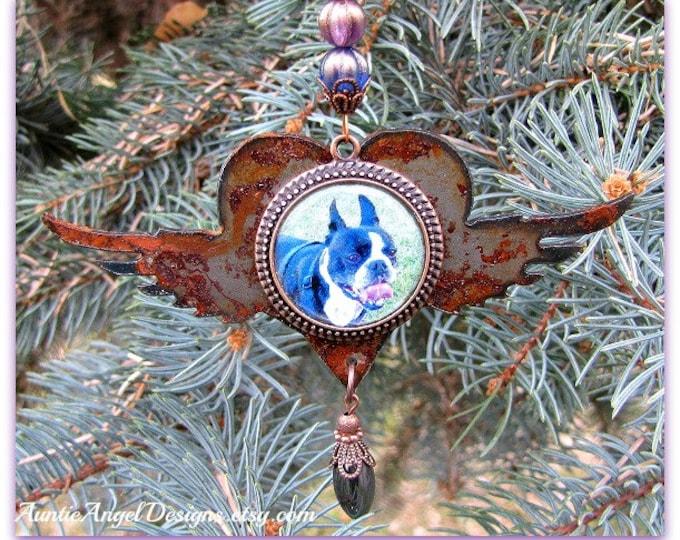 Featured listing image: Rainbow Bridge Pet Photo Ornament, Angel Pet Rusted Ornament, Custom Pet Sympathy Gift, Personalized Pet Photo Ornament, Dog Photo Ornament