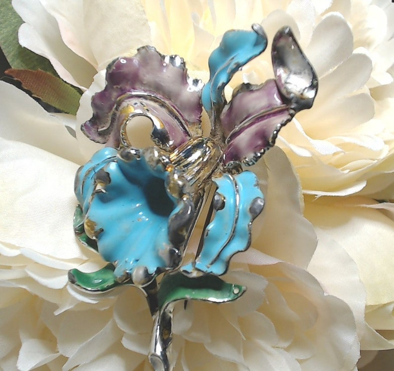 Vintage Brooch Orchid / Iris image 0