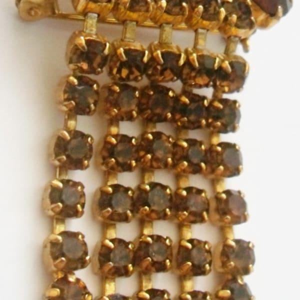 Vintage Brooch. Topaz rhinestone faceted. image 1