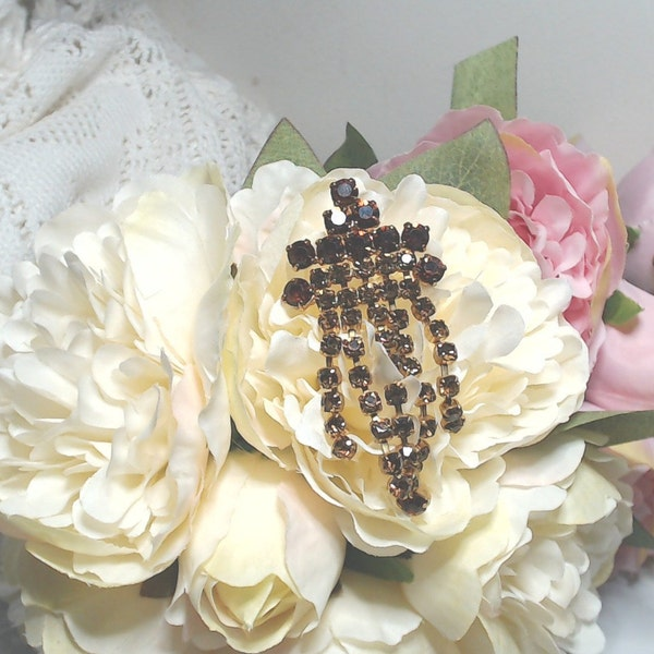 Vintage Brooch. Topaz rhinestone faceted. image 3