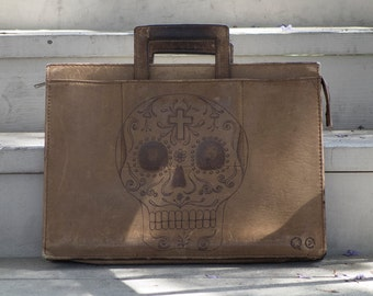 Leather Portfolio with Skull Design on side. -  Día de los Muertos - Day of the Dead