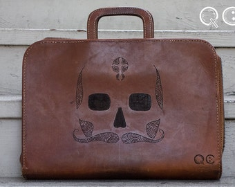 Leather Portfolio with Skull Design on side. -  Día de los Muertos - Day of the Dead - Mustache