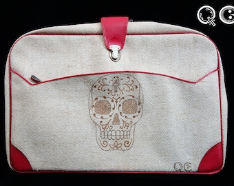 Tweed suitcase with Skull Design on side. -  Día de los Muertos - Day of the Dead