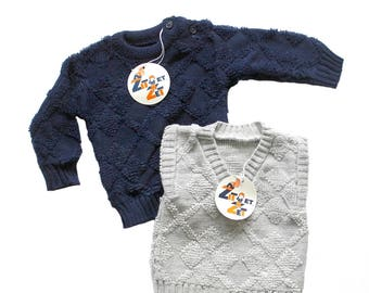 b47c8a096f6 FRENCH VINTAGE 70 s   for babys   lot of two jumpers   textured acrylic knit    new old stock   size 6 months