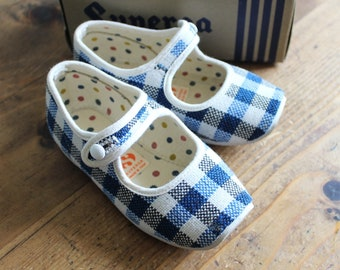 French Vintage 70/'s  baby sandal shoes  blue and navy blue leather  New old stock  size EU 20  US 4,5  UK 3,5
