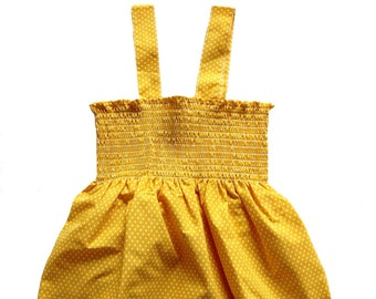 Vintage 1970's polka dots cotton strap top - Yellow or orange - French new old stock - Size 6 years