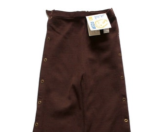 FRENCH VINTAGE 60/70's / for girls / pants / trousers / textured wool jersey / chocolate brown / new old stock / size 3 and 4 years