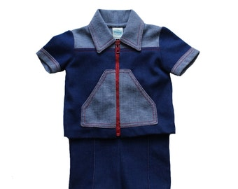 FRENCH VINTAGE 70's / baby outfit / suspender shorts + jacket / denim like jersey / size 9 months