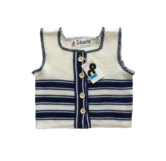 Vintage 70's baby striped knitted top French New old stock Size 6 9 months