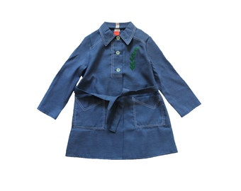 FRENCH VINTAGE 70's / kids / dress / smock / long blouse / Chambray like Tergal / plant flocked pattern / new old stock / size 6 years
