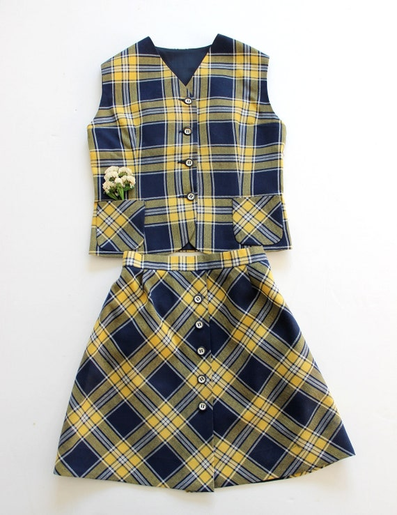 French vintage 70's plaid vest and skirt - French