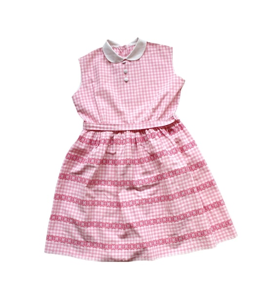 French vintage 50's pink gingham cotton summer dre