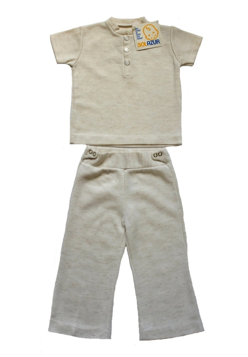 FRENCH vintage 60/70's / girl ensemble / top and matching trousers / off  white jersey / new old stock / size 2 years