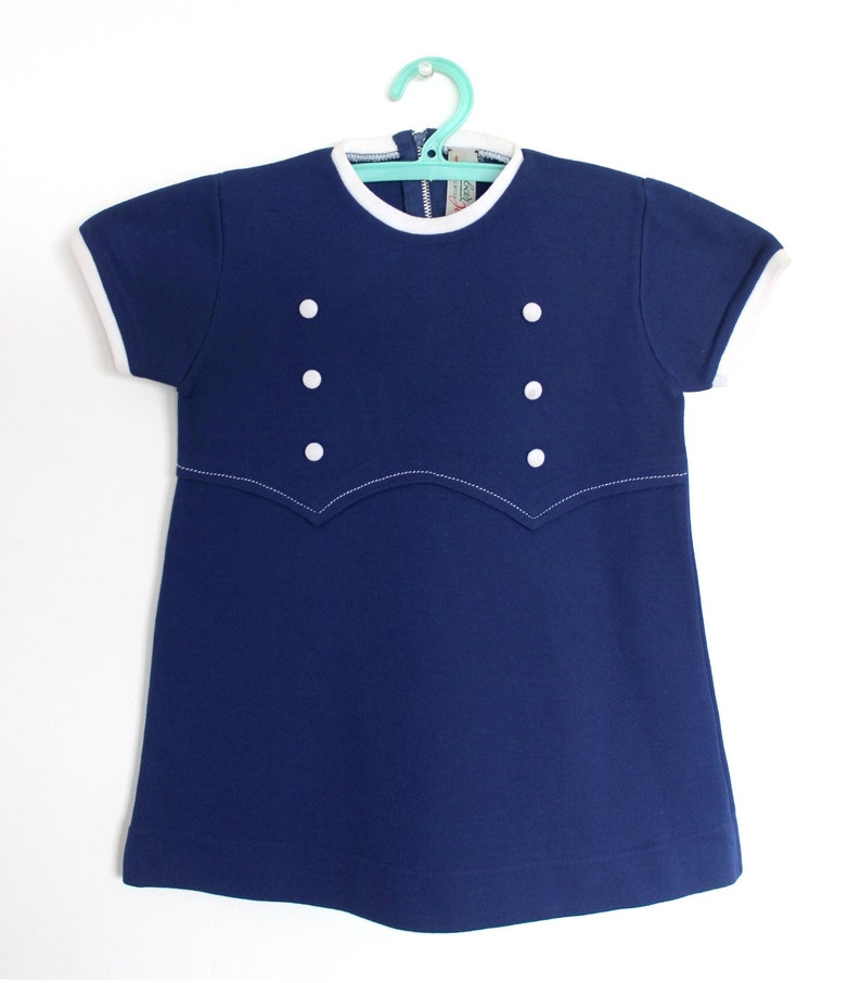 Size 2 years Vintage 60/'s pleated blue dress French NOS