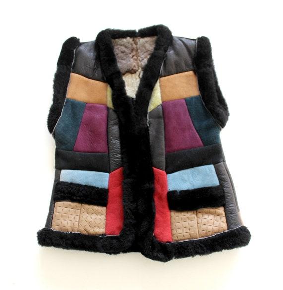 FRENCH vintage 70's Boho patchwork sheepskin leath