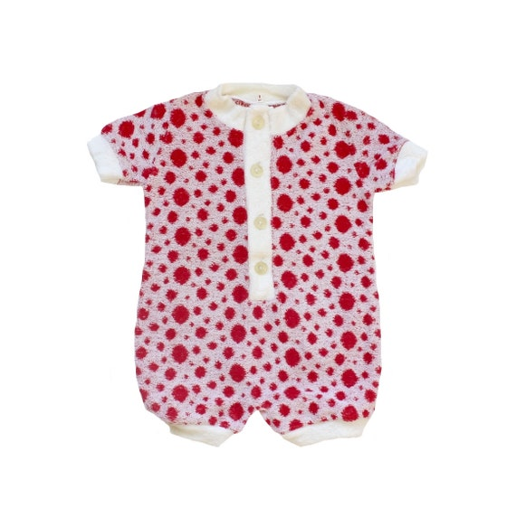 Vintage 70's polka dots terrycloth romper - French