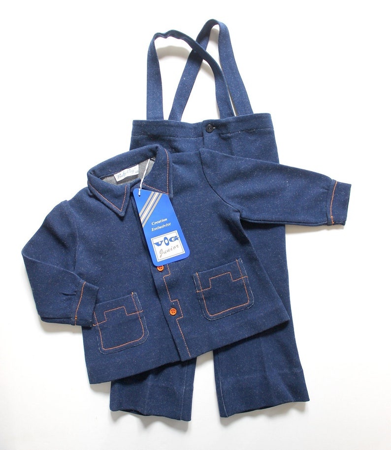 FRENCH VINTAGE 6070/'s Denimlike Jersey Jackets and Trousers Size 18 months and 2 years French NOS