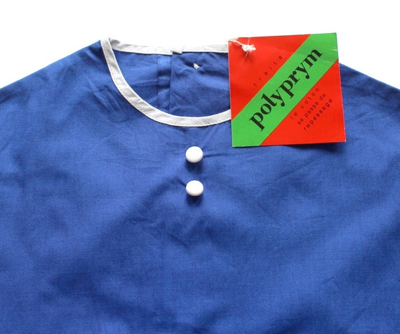 New old stock Size 1218 months French vintage 60/'s blue cotton dress with embroidery