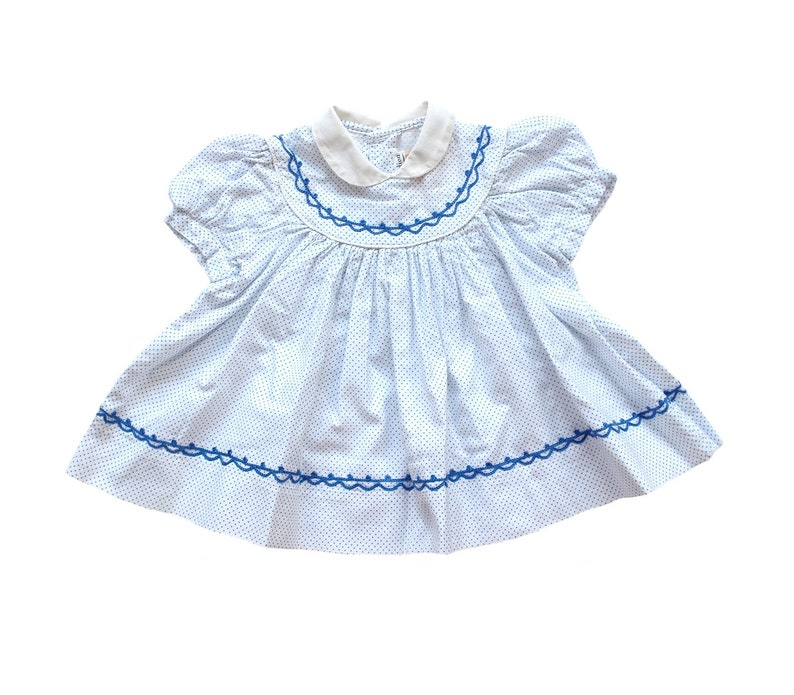 3e042a651e FRENCH VINTAGE 50 s   baby summer dress   white and blue