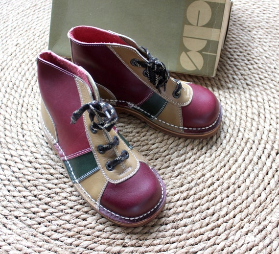 French vintage 70's leather boots Kickers style -