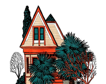 House With Palm Trees - Art Print