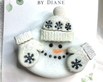 Fused  Fire Polished Glass Snowman Pin Brooch with Hat and Mittens white